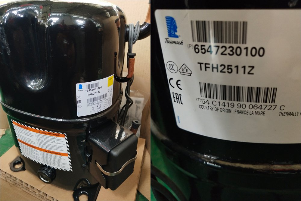 The compressor imported from France TECUMSEH brand(See below Figure 2) which can allow you get after sales service support from many countries.